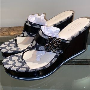 Black COACH wedges